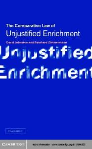 Unjustified Enrichment: Key Issues in Comparative Perspective