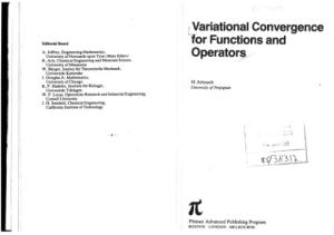 Variational Convergence for Functions and Operators (Applicable mathematics series)