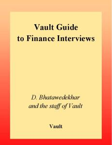 Vault Guide to Finance Interviews, 4th Edition