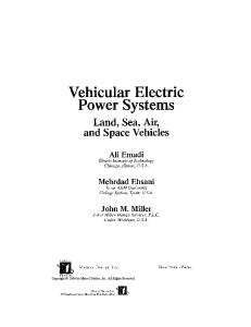 Vehicular Electric Power Systems: Land, Sea, Air, and Space Vehicles (Power Engineering (Willis))