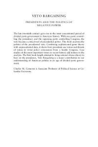 Veto Bargaining: Presidents and the Politics of Negative Power (Political Economy of Institutions and Decisions)