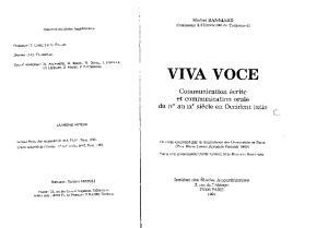 Viva voce : Communication écrite et communication orale du IVe au IXe siècle en occident latin