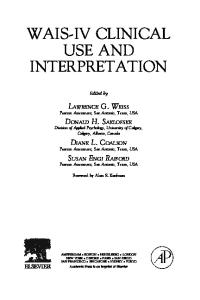 WAIS-IV Clinical Use and Interpretation: Scientist-Practitioner Perspectives (Practical Resources for the Mental Health Professional)