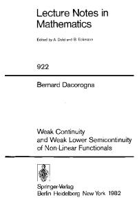 Weak Continuity and Weak Semicontinuity of Non-Linear Functionals