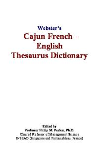 Webster's Cajun French - English Thesaurus Dictionary