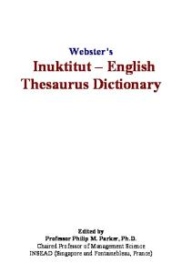 Websters Inuktitut - English Thesaurus Dictionary
