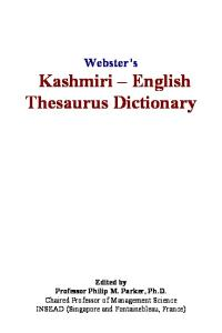 Websters Kashmiri - English Thesaurus Dictionary