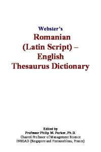 Websters Romanian (Latin Script) - English Thesaurus Dictionary