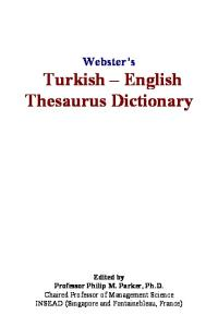 Websters Turkish - English Thesaurus Dictionary