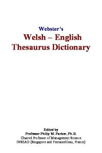 Websters Welsh - English Thesaurus Dictionary