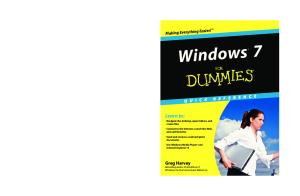 Windows 7 For Dummies Quick Reference (For Dummies (Computer Tech))